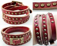 Red  Leather Bracelet with Studs.